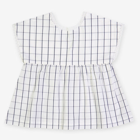 Girls Rimbaud Blouse - Black Thin Squares
