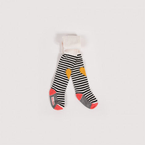 Girls Striped Heart Tights