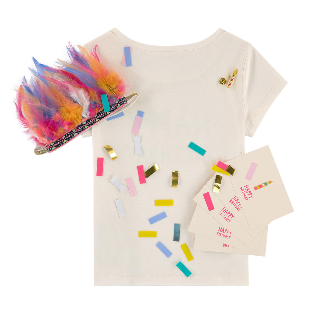 "Girls ""Happy Birthday"" T-shirt with Candle Pin on Front"