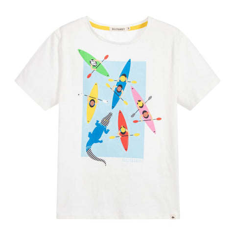 Boys Cotton T-Shirt with Paddle Boats Graphic