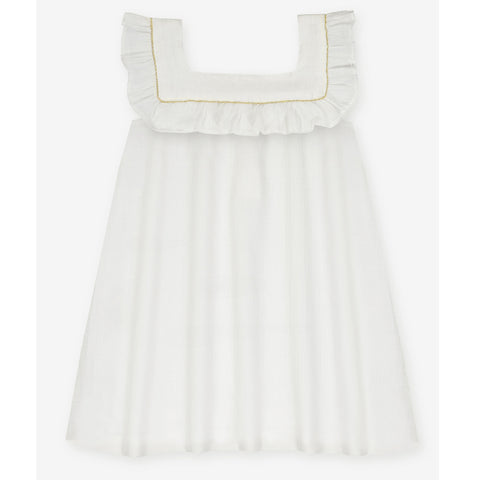 Girls Venice Dress - Milk White Crepe