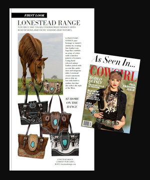 As seen in Cowgirl Magazine The Chimney Peak Collection is a distinctively handcrafted luxury tote bag of genuine leather and cowhide which embodies the lifestyle of the iconic West