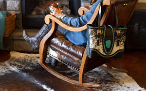 The Chimney Peak Collection is a distinctively handcrafted luxury tote bag of genuine leather and cowhide which embodies the lifestyle of the iconic West