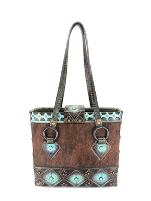 Artisan  Cowhide Leather Tote Bag - The Navajo Peak II front view