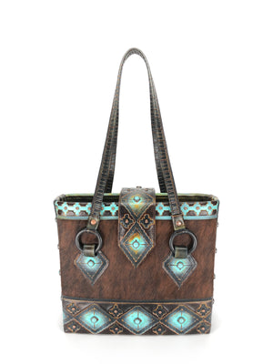 Leather Tote Bag, the best designer tote bag for travel! - The Navajo Peak II front view