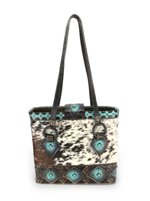 Artisan  Cowhide Leather Tote Bag - The Navajo Peak III front view