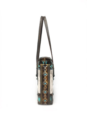Artisan  Cowhide Leather Tote Bag - The Navajo Peak I front view