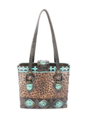 Best Leather Handbag, a Cowhide Leather Tote Bag-The Navajo Peak IV front view