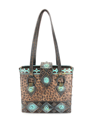 Artisan  Cowhide Leather Tote Bag - The Navajo Peak IV front view