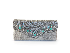 Women's Clutch Wallet ostrich honey front view