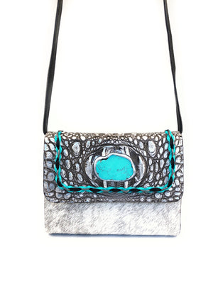 Mini Crossbody Bag silver front view