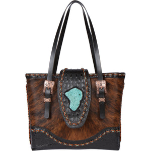 Leather Cowhide Turquoise Tote Bag CPI Front