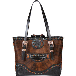 Cowhide Tote Bag, Luxury Leather Tote Bag Chimney Peak I Frontview