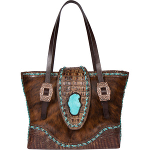 Leather Cowhide Turquoise Tote Bag CPVI Front