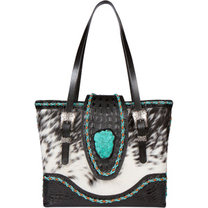 Genuine Leather Cowhide Turquoise Tote Bag CPII Front