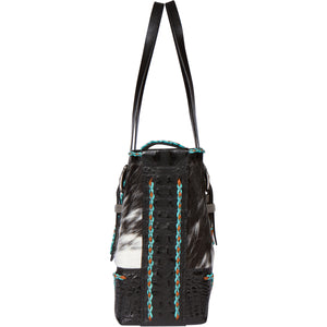 Leather Cowhide Turquoise Tote Bag CPII Front