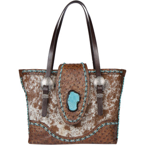 Leather Cowhide Turquoise Tote Bag CPIII Front