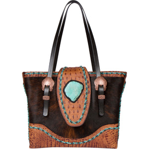 Leather Cowhide Turquoise Tote Bag CPIV Front