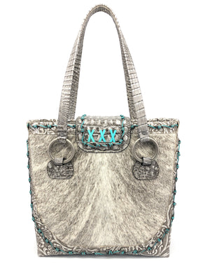 Luxury Cowhide Leather Tote Bag - The Horn Peak IV front view