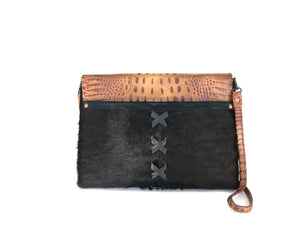 Cowhide Leather Purse, both a clutch & a crossbody in one - The Owl Creek Pass I front view