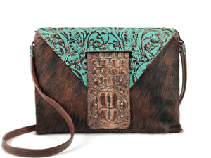 Leather Clutch Bag, includes a strap! - The Owl Creek Pass V Front view