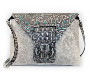 Leather Envelope Clutch, includes a strap! - The Owl Creek Pass VII front view