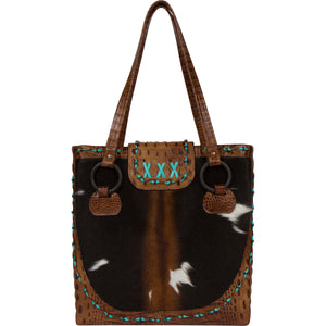 Luxury Cowhide Leather Tote Bag The Horn Peak III Front view