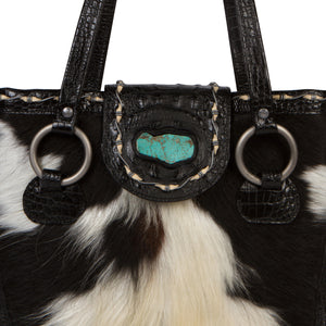 Luxury Cowhide Leather Tote Bag The Horn Peak II Front  view