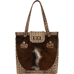 Luxury Cowhide Leather Tote Bag The Horn Peak I Front view