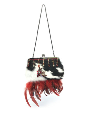 Evening Bag, Designer - The Feather Peak V Black & White