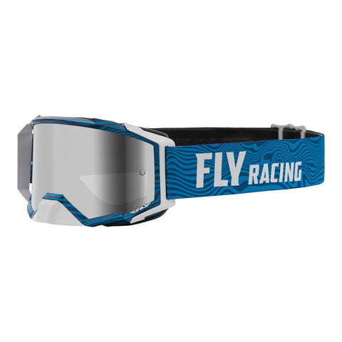Fly 2021 Zone Pro Goggle - Blue / White with Silver Mirror / Smoke Lens