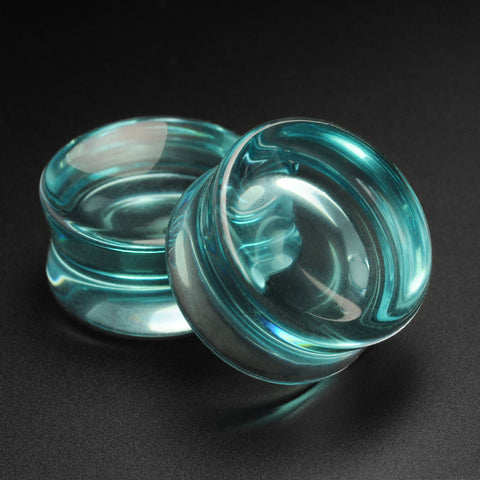 Aqua Glass Double Flare Concave Plug