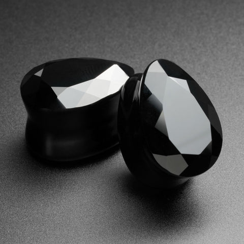 Faceted Black Glass Double Flare Teardrop Plug