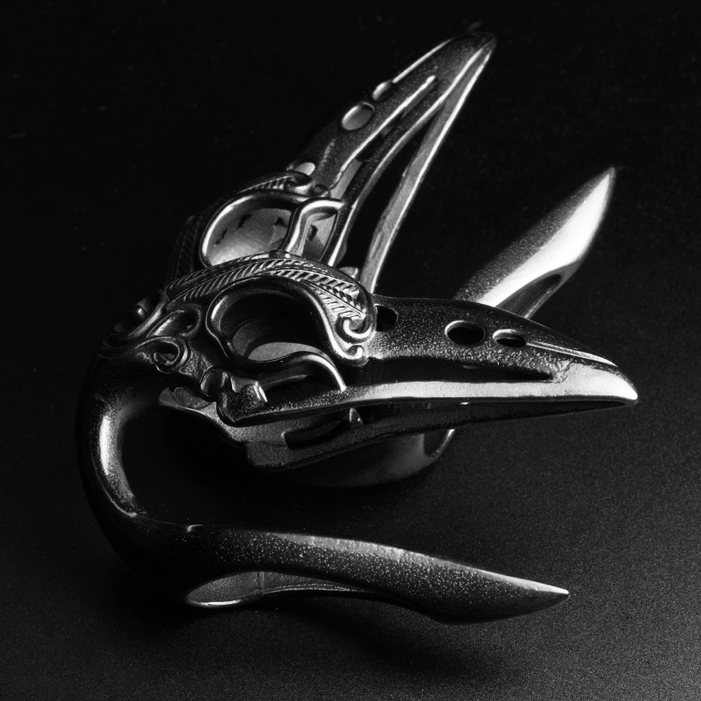 Black PVD Bird Skull Ear Weight