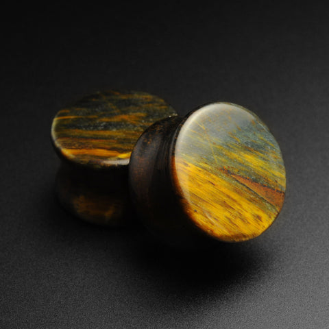 Blue Tiger's Eye Double Flare Plugs