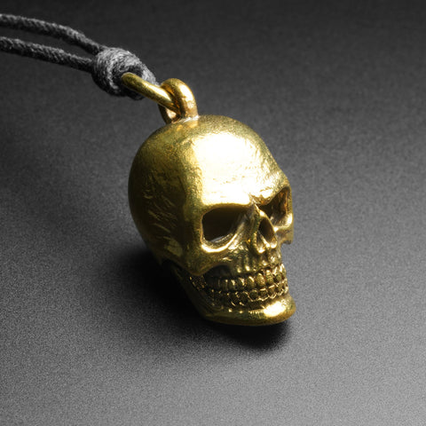 Skull Brass Pendant With Adjustable Cord Necklace