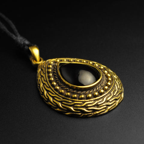 Brass Onyx Inlay Pendant With Adjustable Cord Necklace