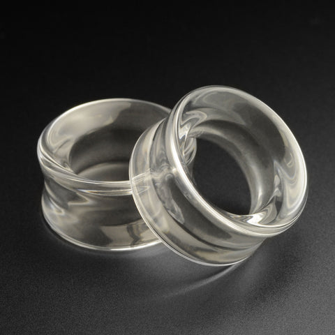 Clear Glass Double Flare Concave Tunnel