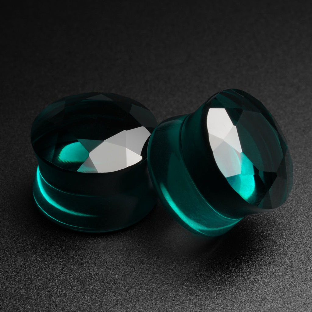 Faceted Teal Glass Double Flare Plug