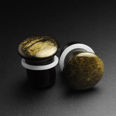 Golden Obsidian Single Flare Convex Stone Plug