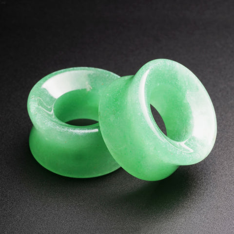 Green Aventurine Double Flare Concave Stone Tunnel