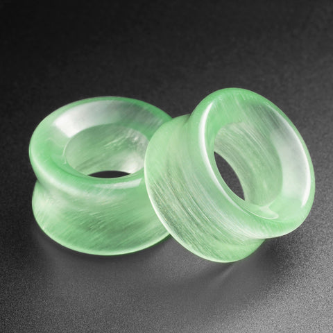 Green Cat's Eye Glass Double Flare Concave Tunnel