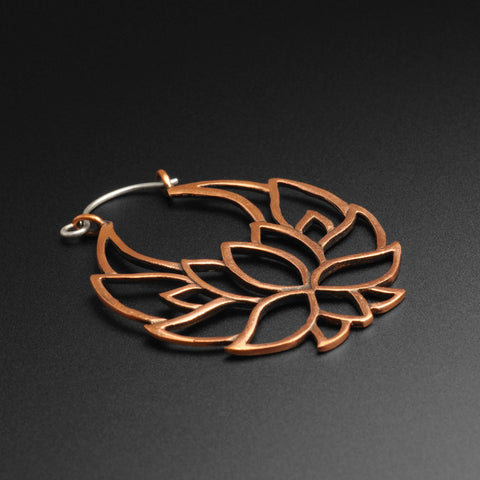 Lotus Flower Copper & Silver Plug Hoops