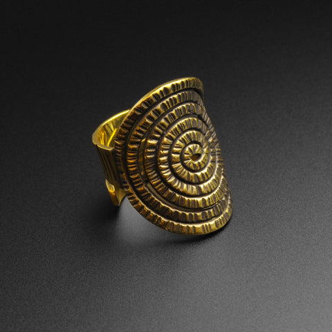 Textured Spiral Brass Ring