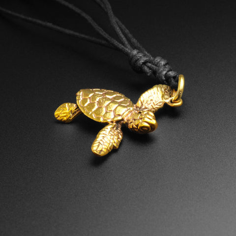 Turtle Brass Pendant With Adjustable Cord Necklace