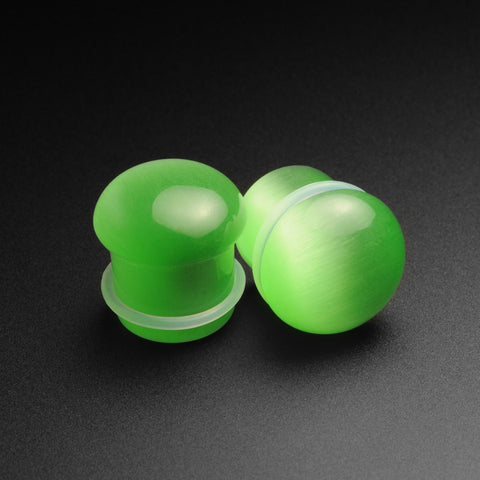 Green Cat's Eye Glass Single Flare Convex Plug