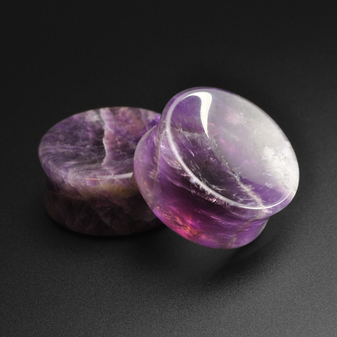 Amethyst Double Flare Concave Stone Plug
