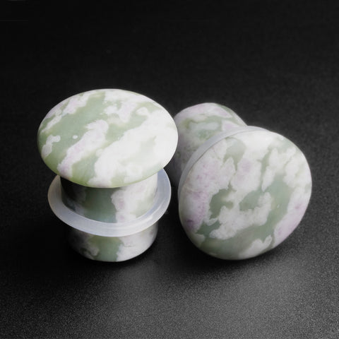 Peace Jade Single Flare Convex Stone Plug
