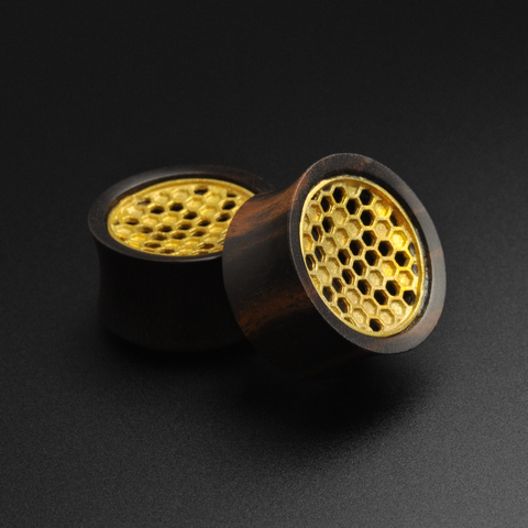Areng Wood Double Flare Tunnel With Brass Honeycomb Inlay