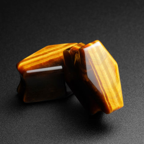 Yellow Tiger's Eye Double Flare Coffin Stone Plug
